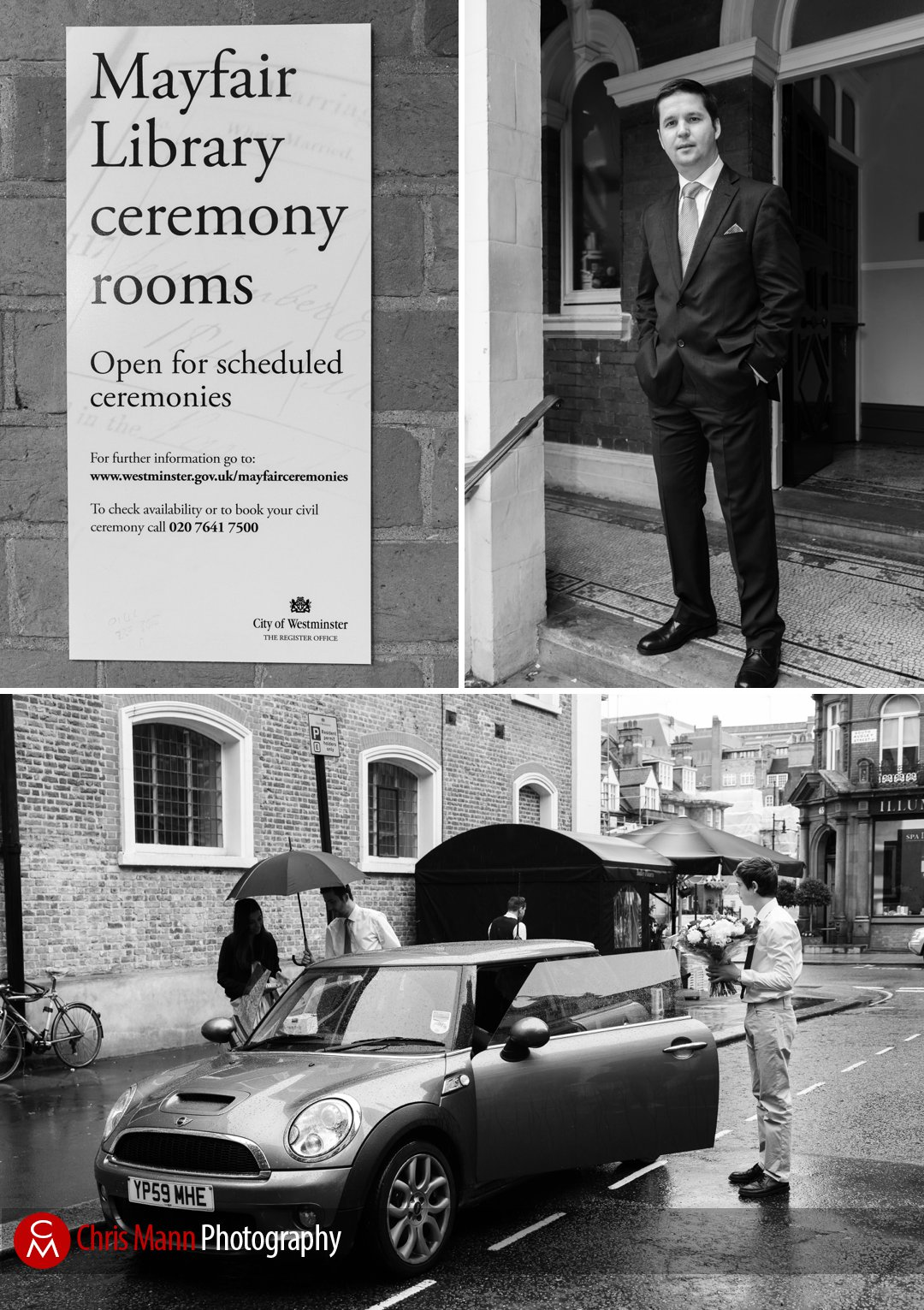 groom arrives at mayfair Library for his civil ceremony