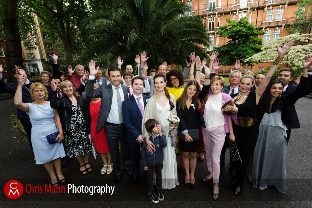 family group wedding photo in Mount Street Gardens