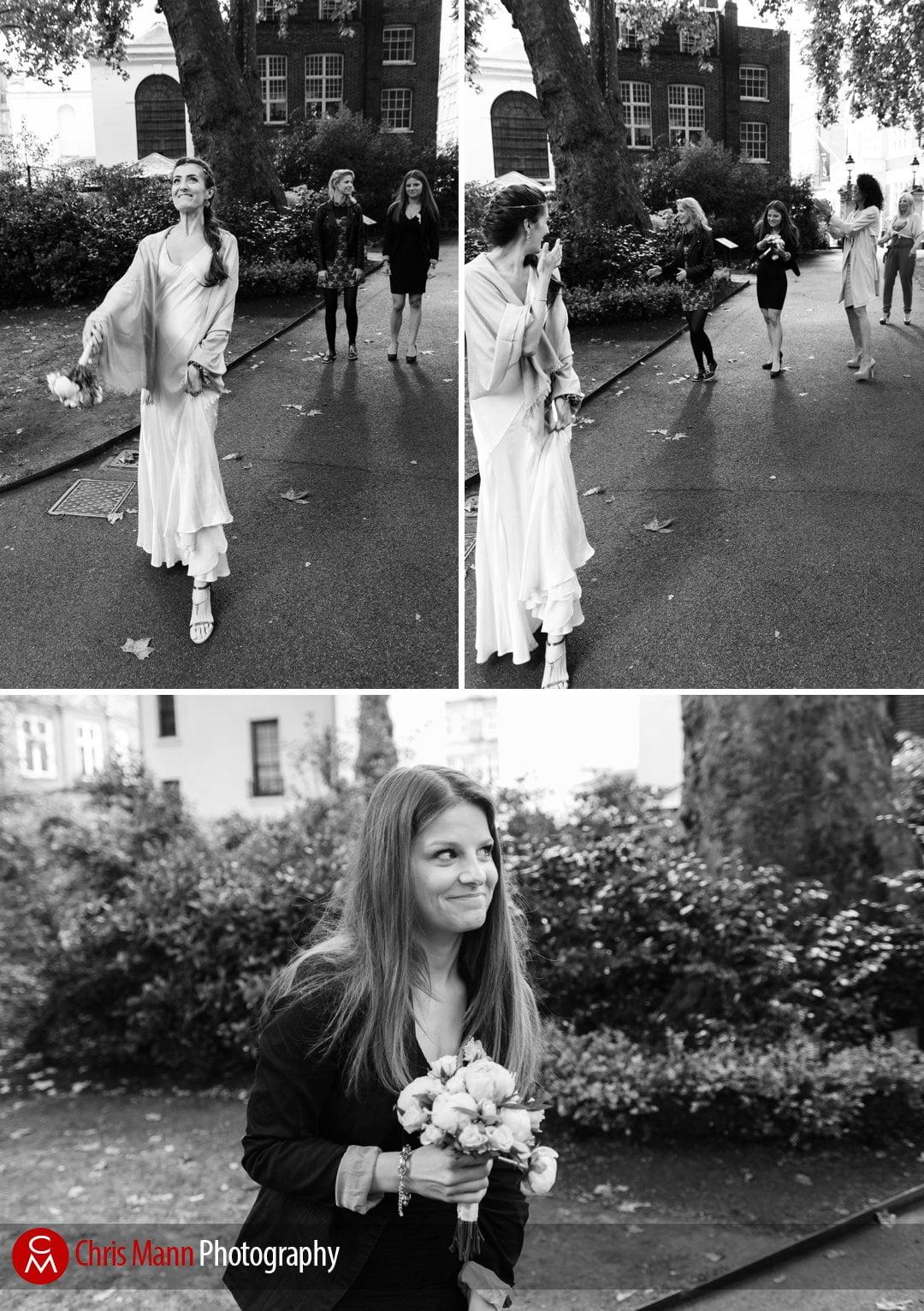 bride throws bouquet in Mount Street Gardens