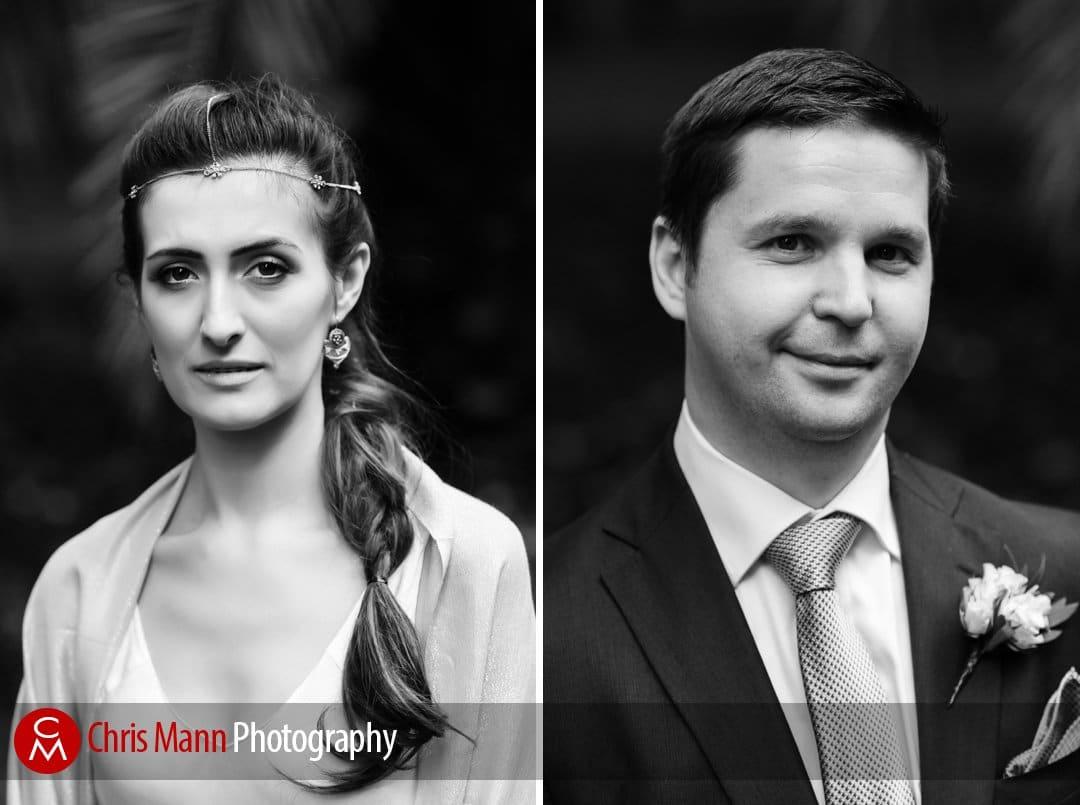 portraits of bride and groom in mount street gardens