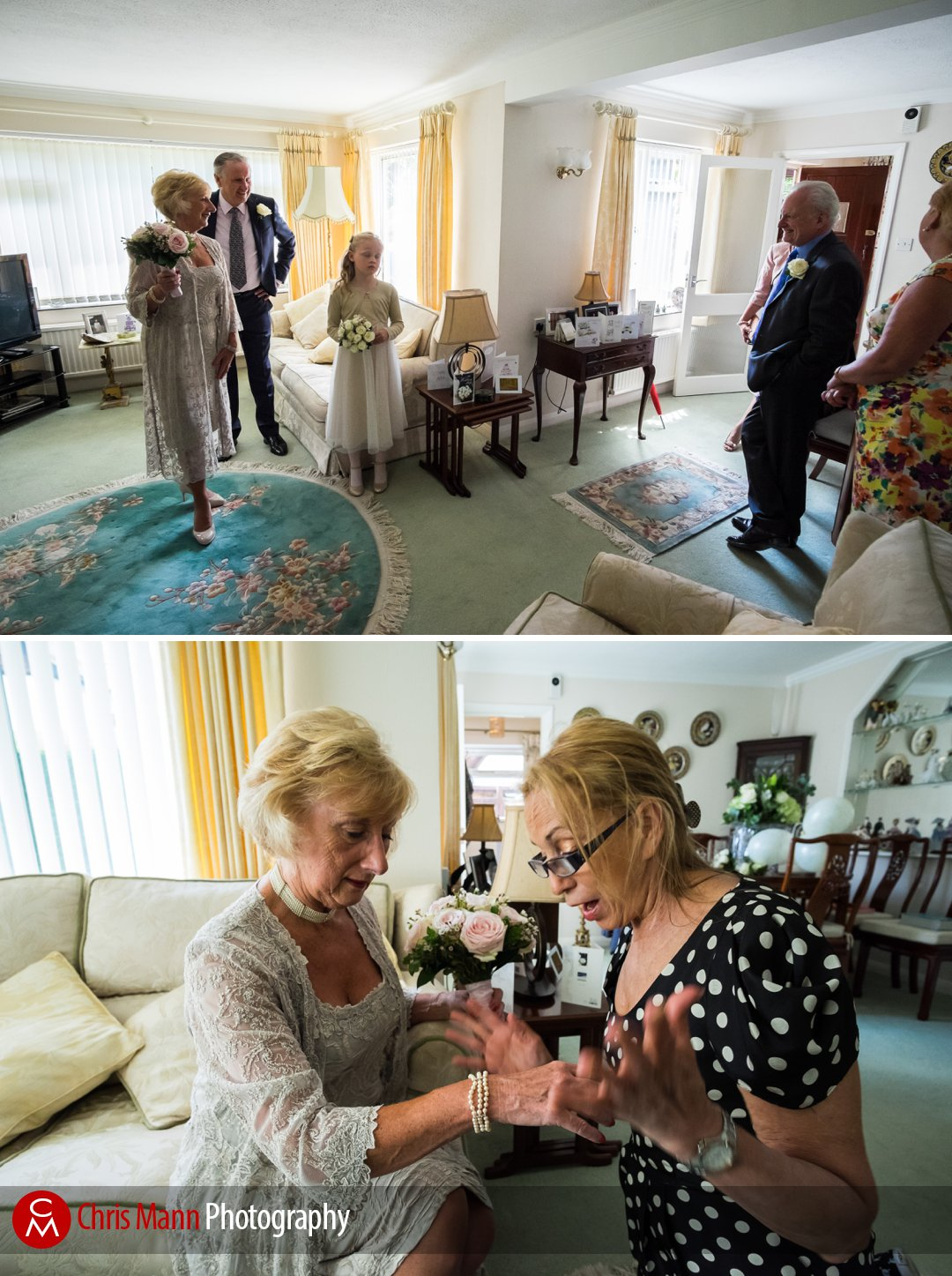 bride gets ready at her home in Wonersh