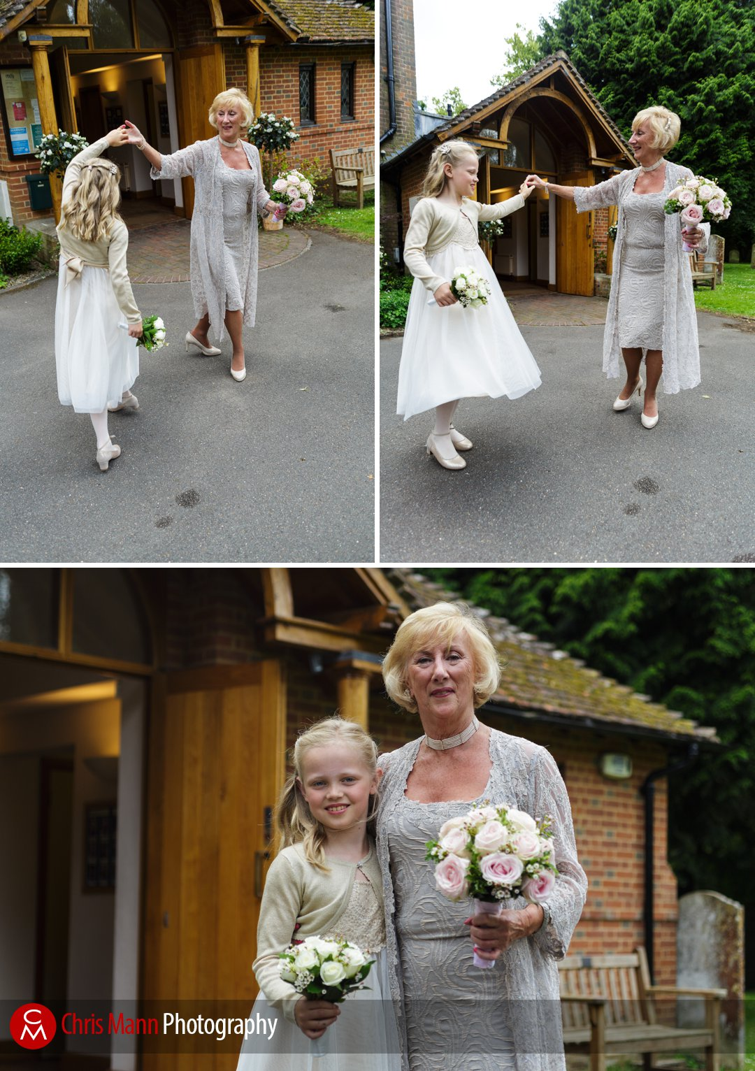 bride dances with flower girl outside church