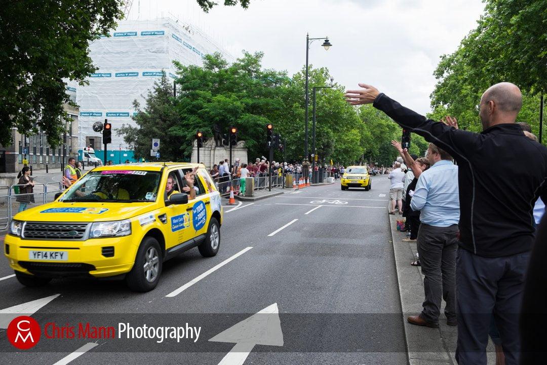 Sponsor vehicle drives along the Embankment Tour de France 2014 stage 3  London