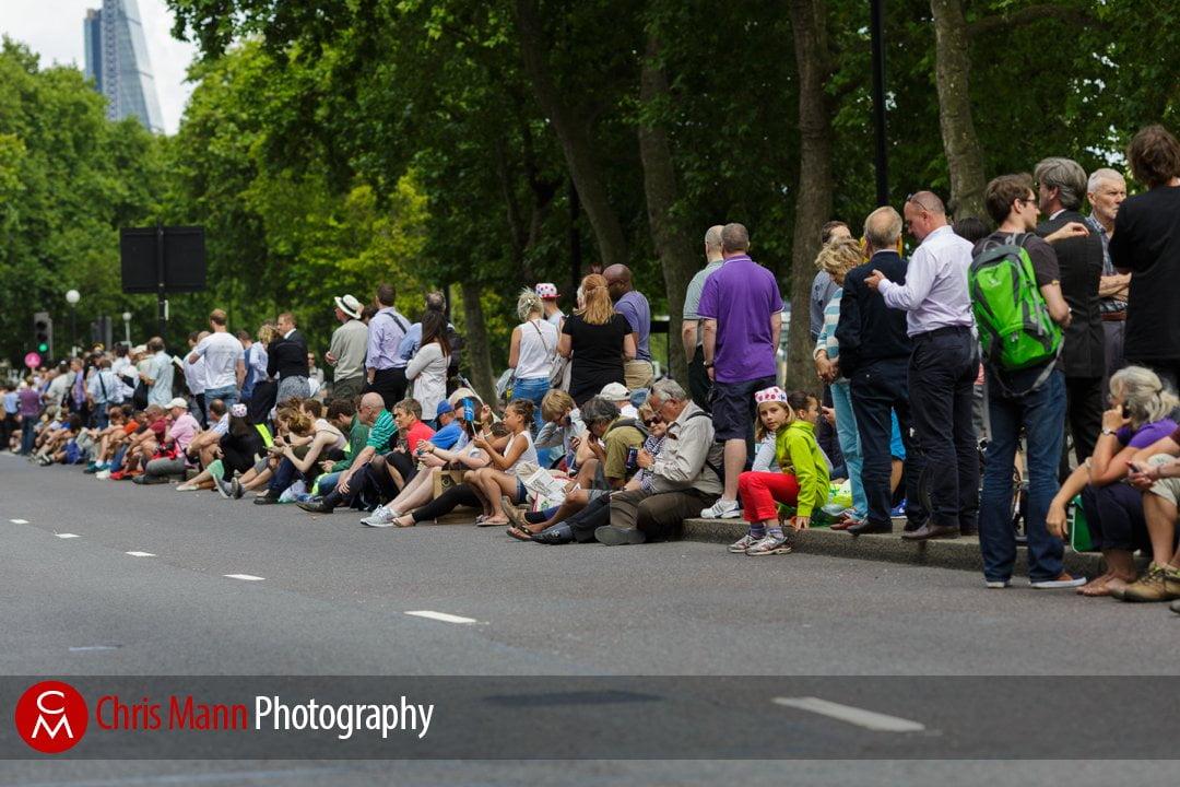 Tour de France 2014 stage 3 London onlookers at the roadside await the race