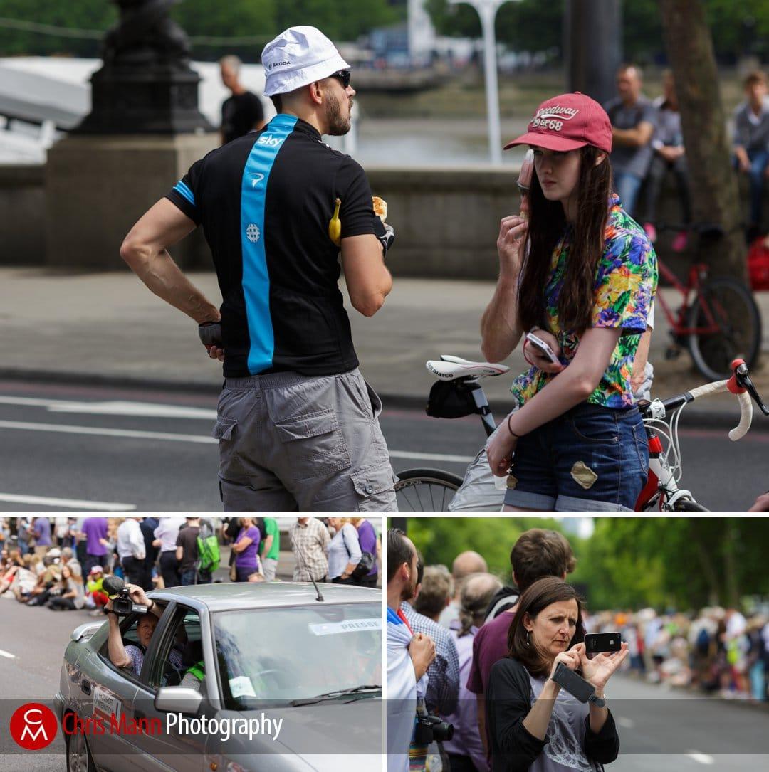 spectators at Tour de France 2014 stage 3 London on the Embankment