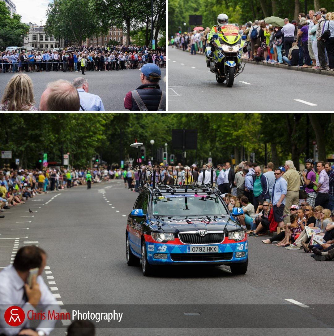 Tour de France 2014 stage 3 London police motorcycle and team car