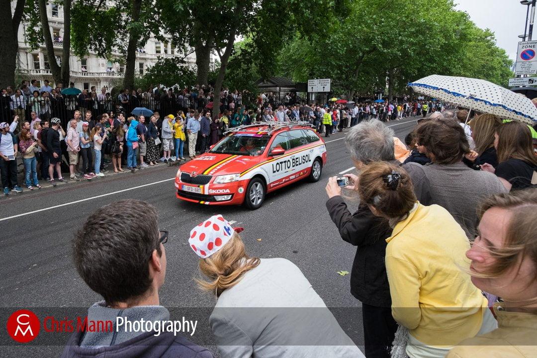 Tour de France 2014 stage 3 London Lotto Belisol team support vehicle