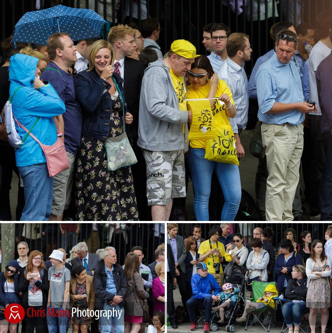 Tour de France 2014 stage 3 London spectators shelter from the rain