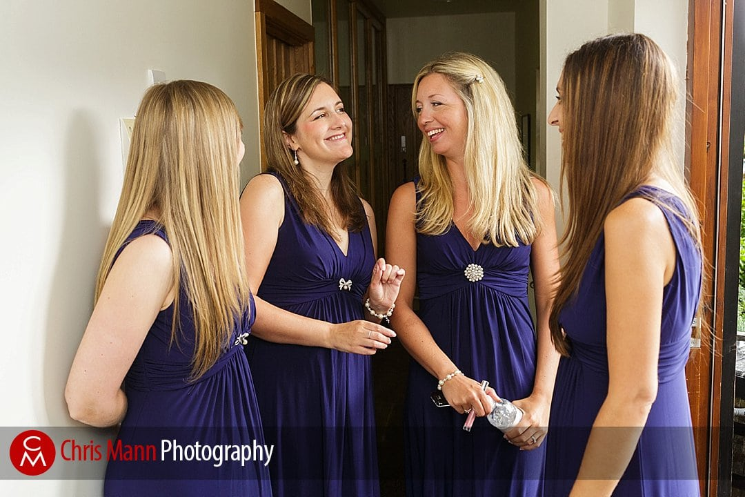 smiling bridesmaids chatting Gate Street Barn