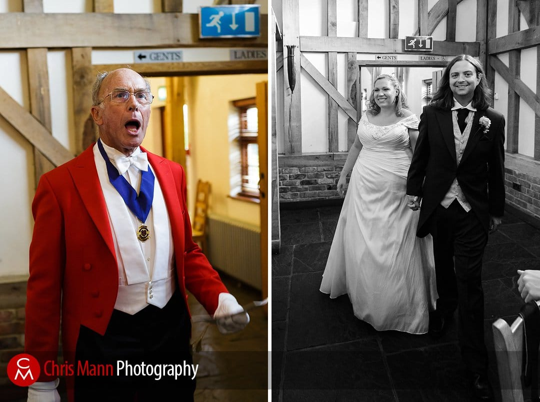 toastmaster announces bride and groom Gate Street Barn