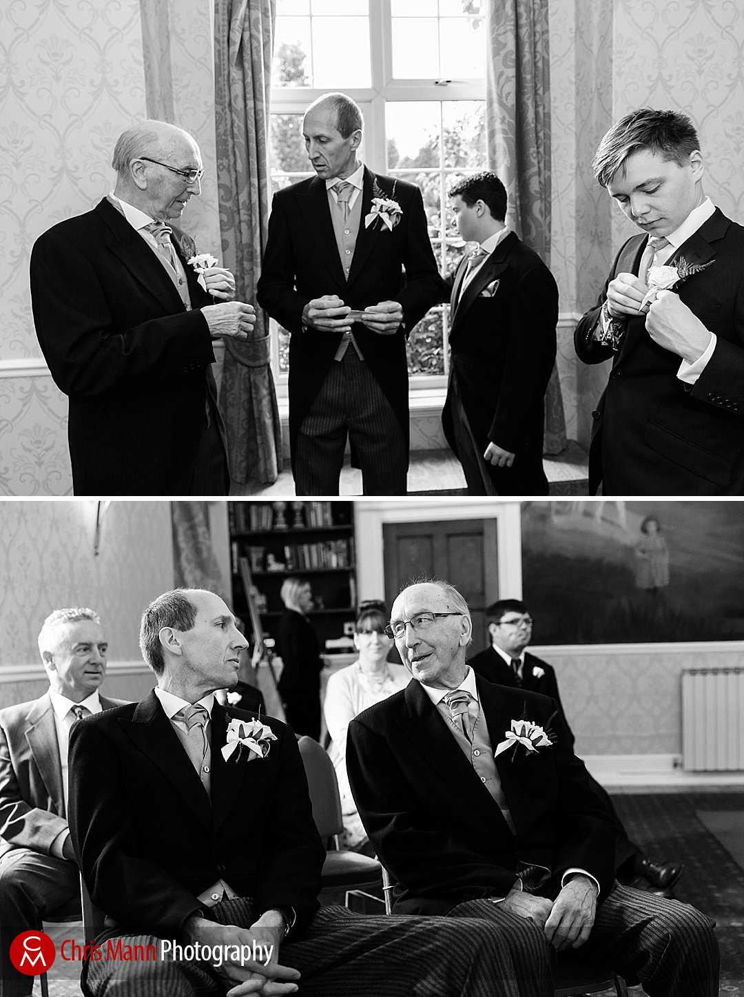 groom best man and groomsmen chat before a Manor House Hotel wedding
