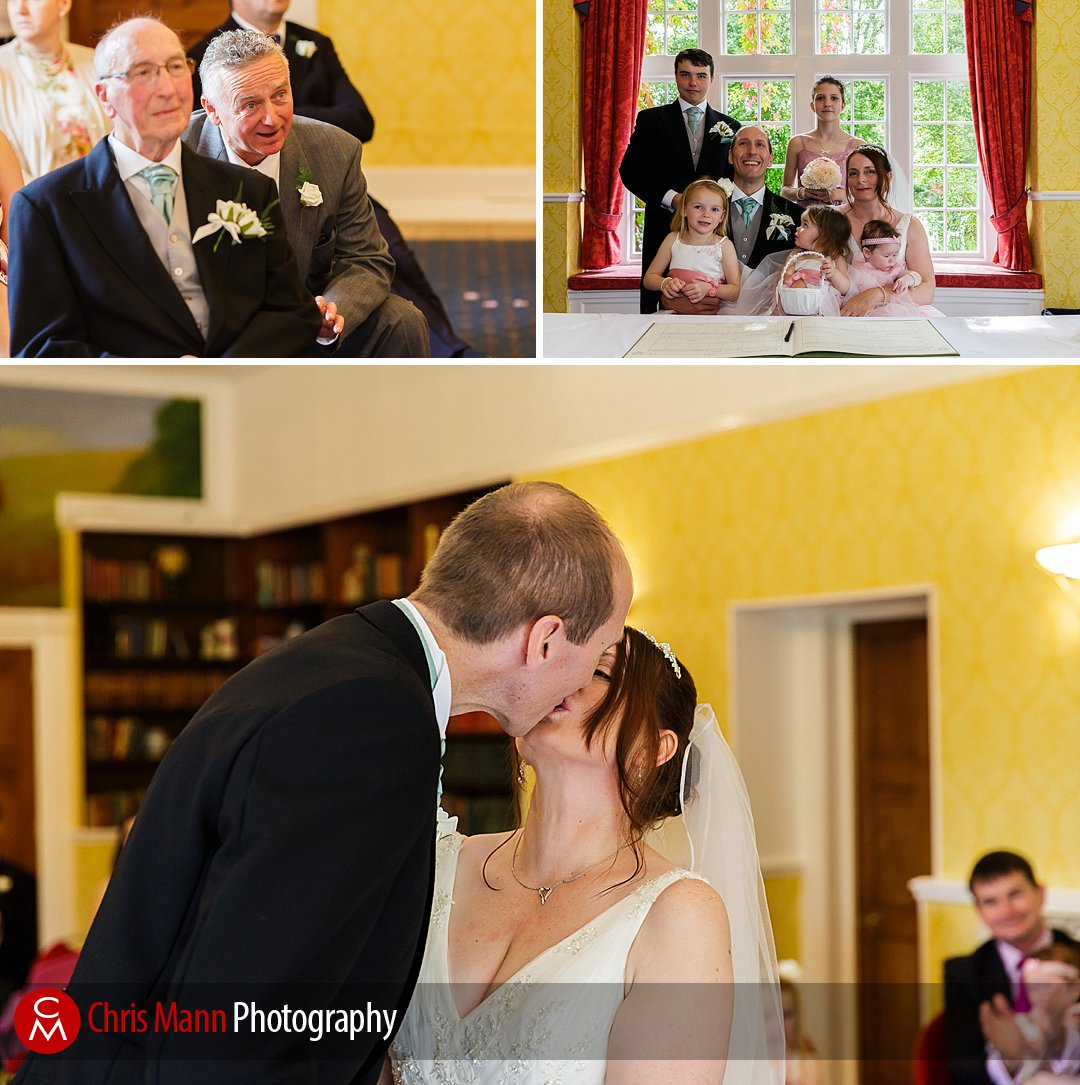 first kiss wedding at Manor House Hotel Guildford