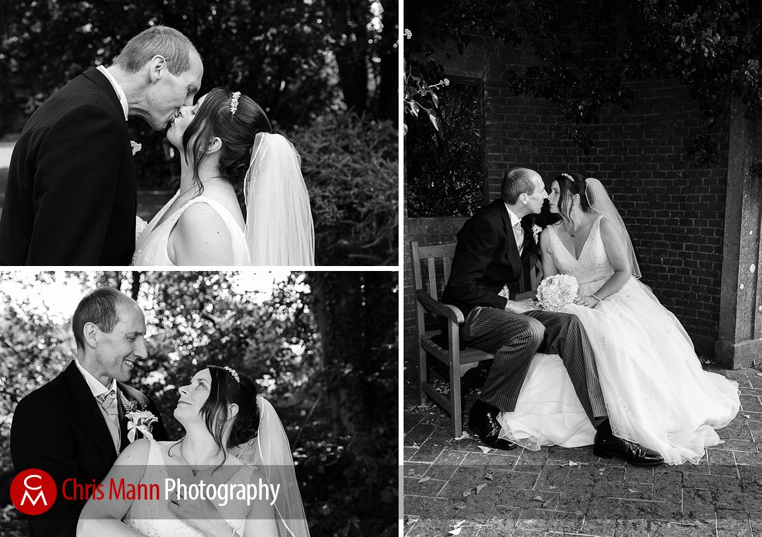 blakc and white photo wedding couple Manor House Hotel Guildford