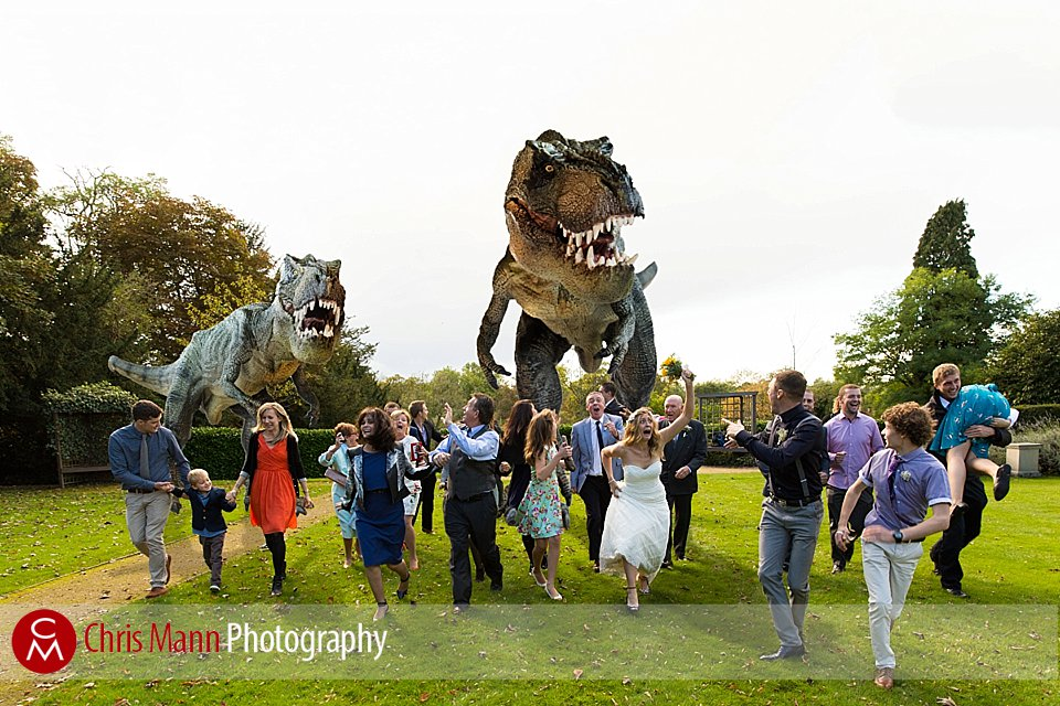 T Rex chases bride groom and guests at a wedding at Leatherhead Register Office, Surrey UK