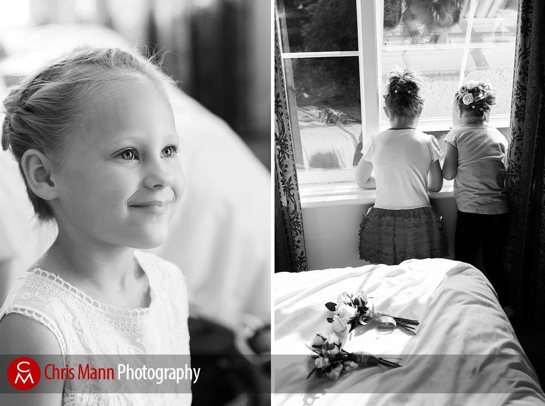 flower girls getting ready Guildford wedding photography Manor House Hotel