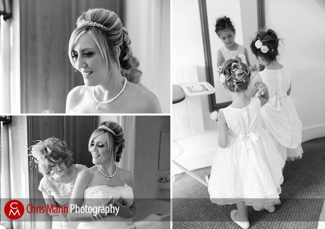 bride and flower girls prepare for wedding Guildford Surrey UK