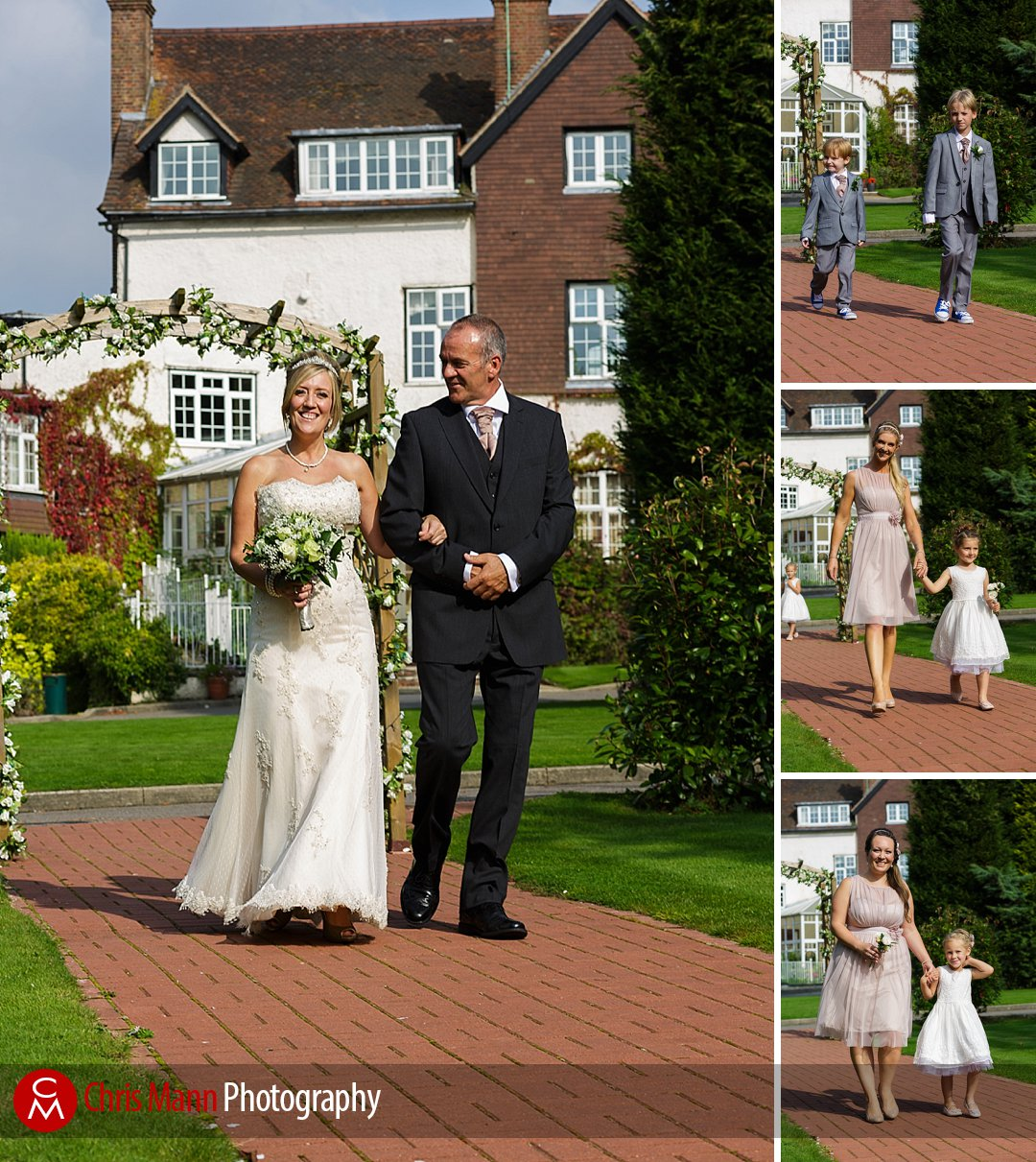 bride and father walk down aisle Guildford Surrey