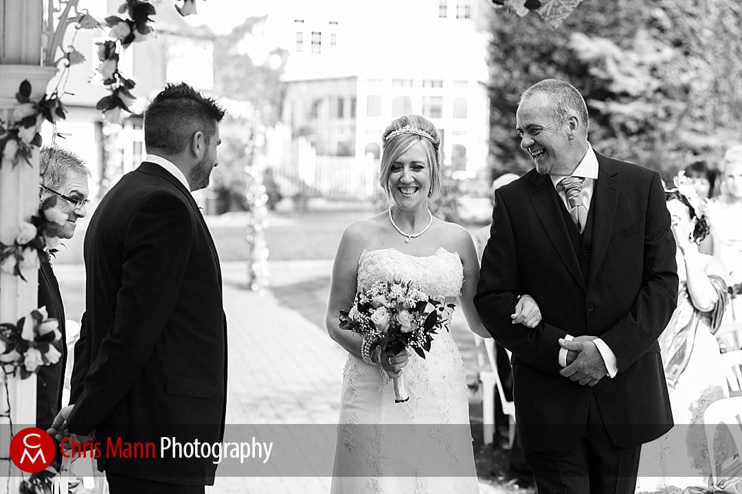 bride and father meet groom wedding Guildford Surrey