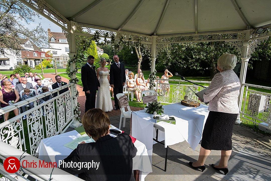 outdoor wedding gazebo Guildford Manor House Hotel