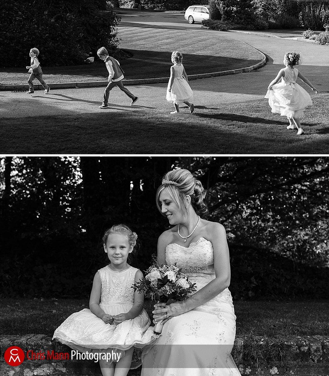 bride & bridesmaid & running children wedding