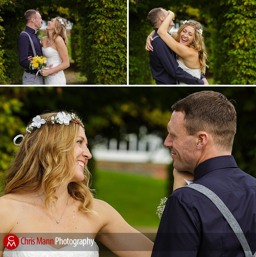 bride and groom photos in gardens Leatherhead register office