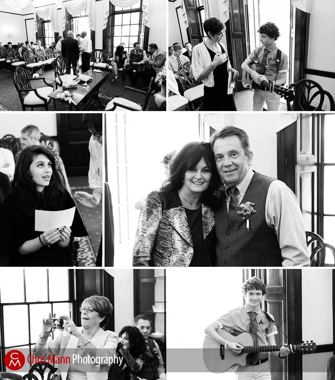 black and white wedding ceremony photos leatherhead registry office
