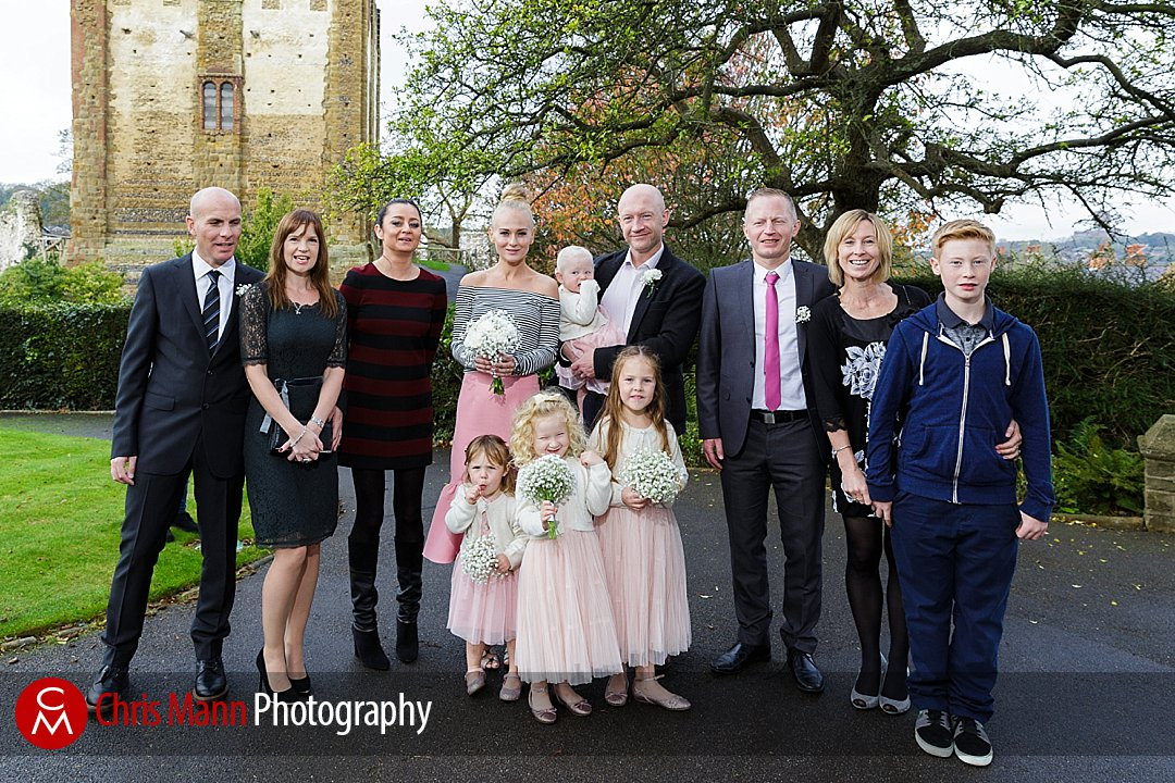wedding group photo Guildford Castle gardens