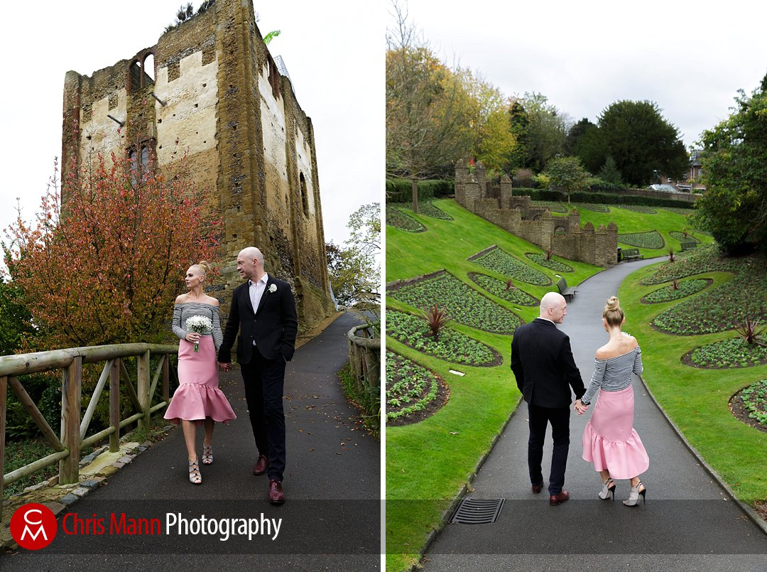 bride and groom Guildford Castle wedding photos