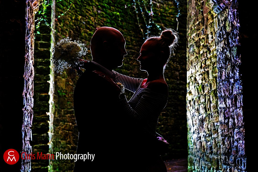 bride and groom silhouette Guildford Castle