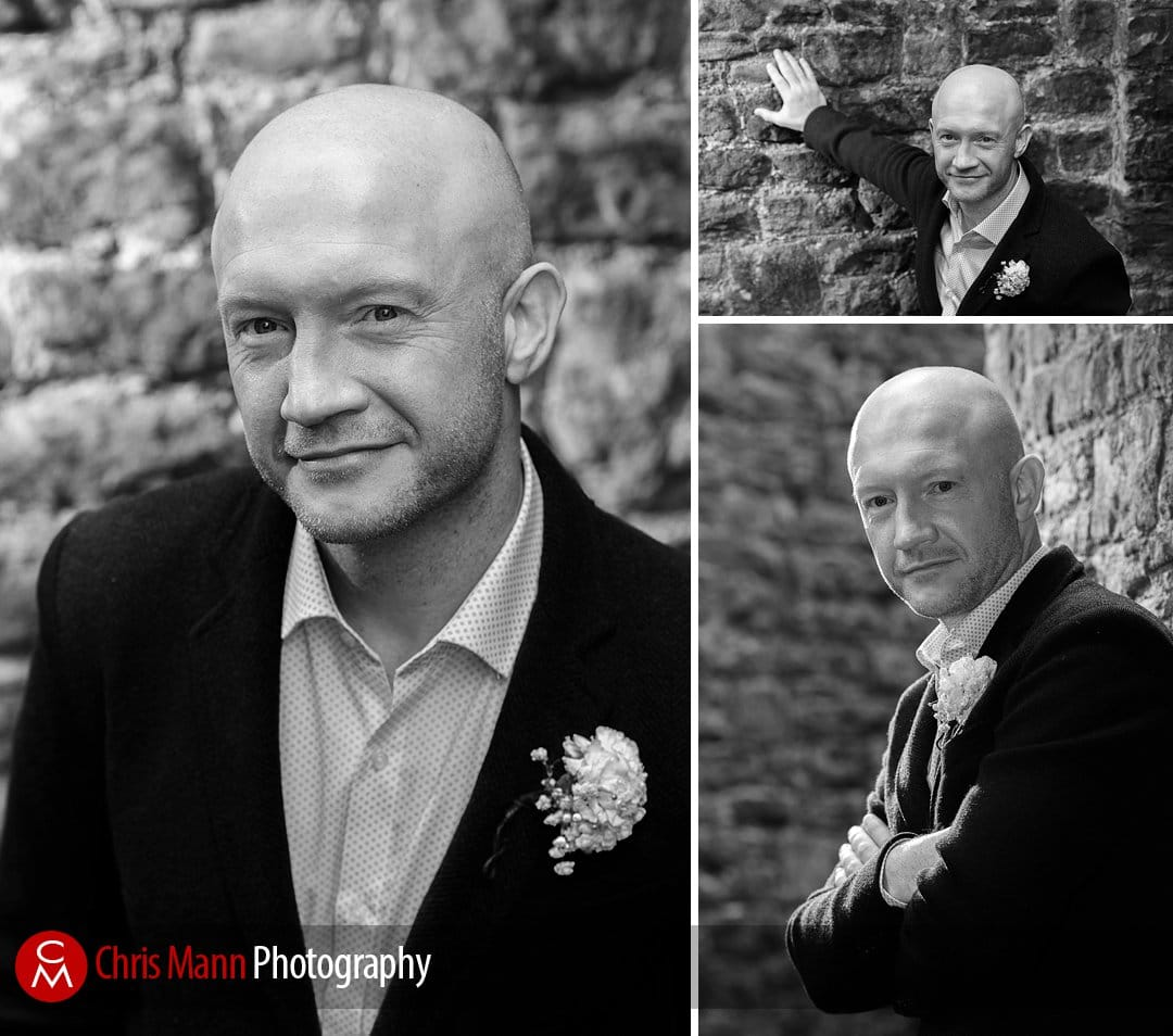 portraits of the groom at Guildford Castle by Chris Mann