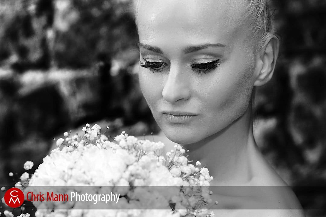 bride portrait black and white Guildford Castle