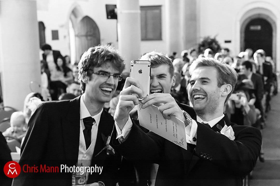 groom and best man wedding selfie