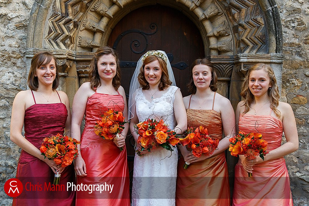 bride and bridesmaids outside St Ebbe's Oxford