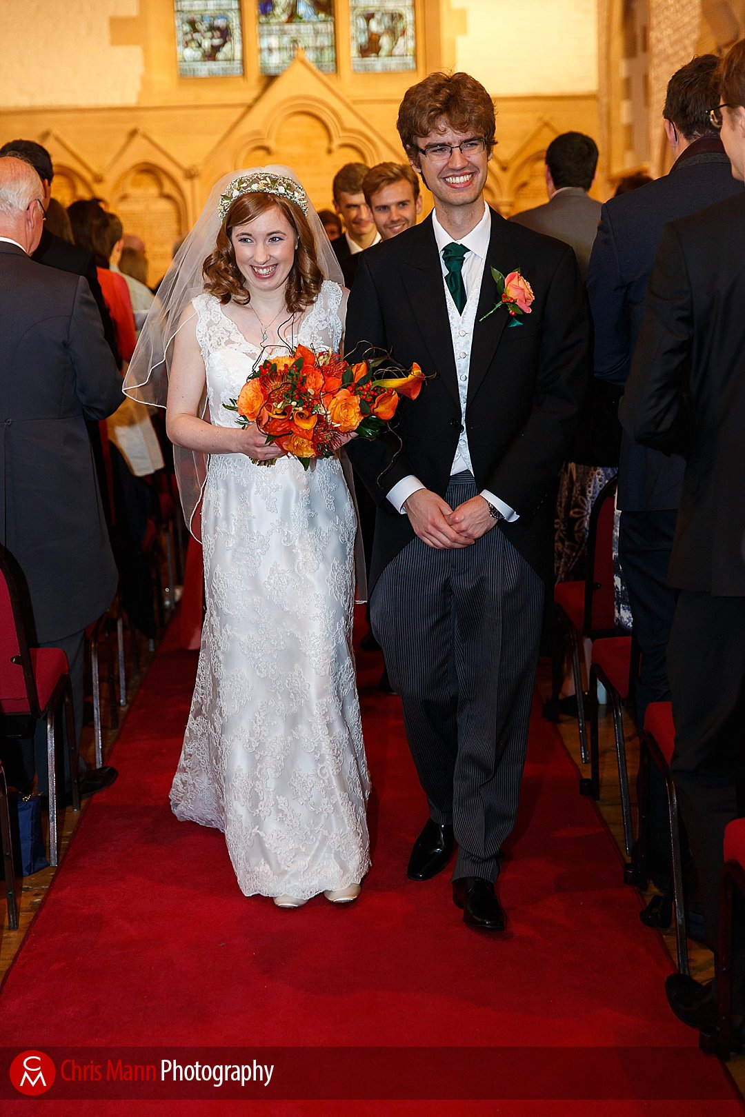 bride and groom coming down the aisle St Ebbe's Oxford