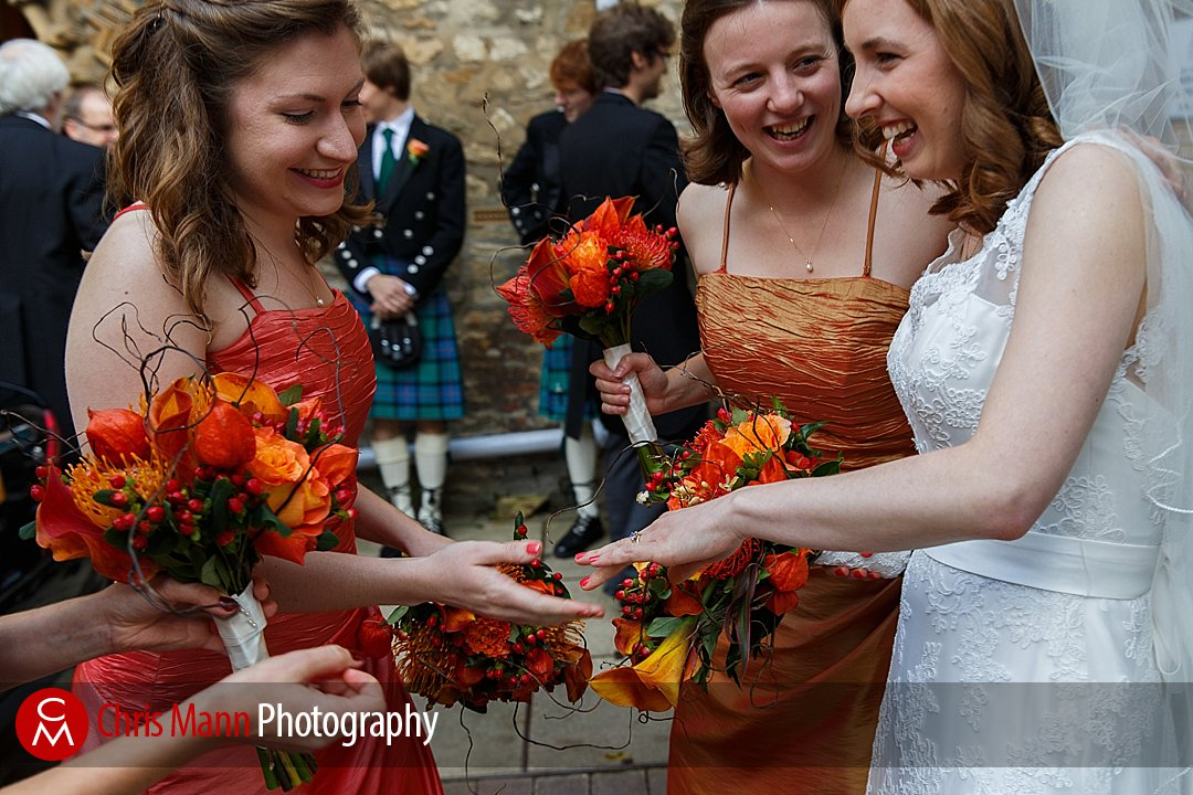 bride shows ring to bridesmaids St Ebbe's Oxford