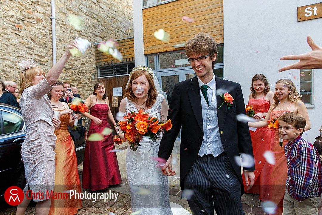 bride and groom confetti St Ebbe's Oxford