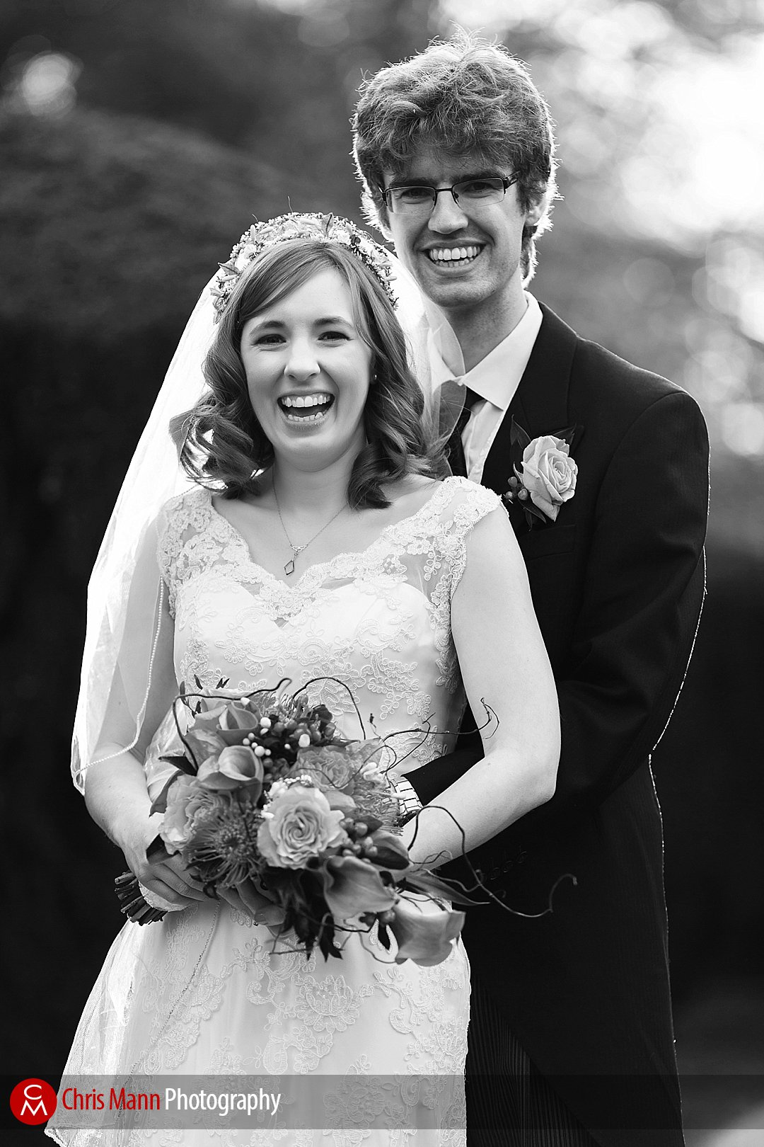 bride and groom black and white portrait Lady Margaret Hall Oxford