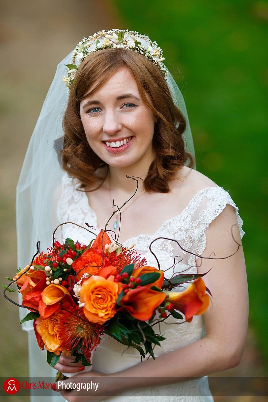 bride portrait Lady Margaret Hall Oxford gardens