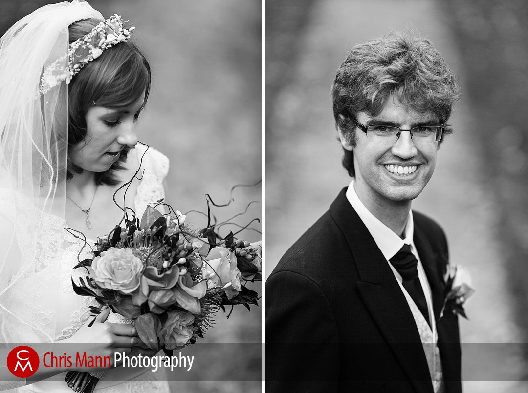 brde and groom portraits in gardens Lady Margaret Hall Oxford
