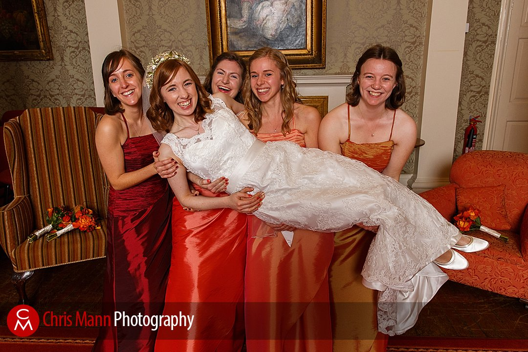 bridesmaids lift bride Lady Margaret Hall Oxford