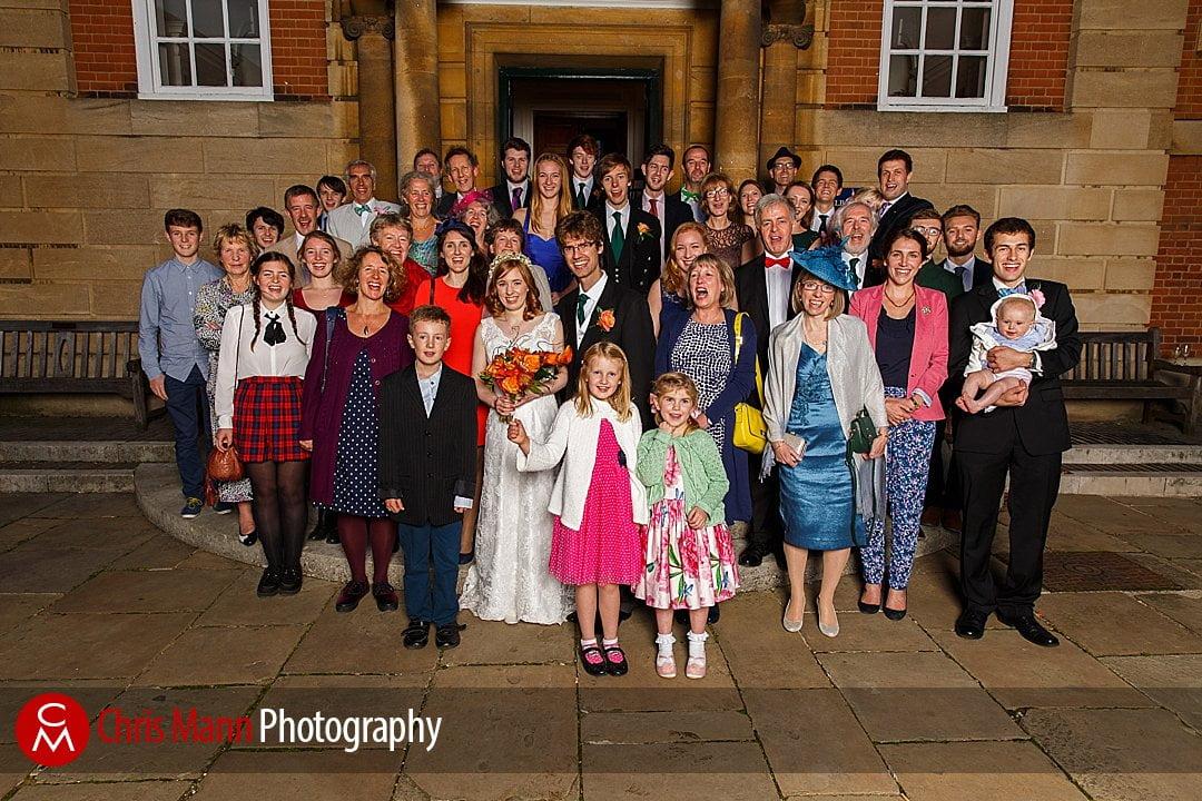 large wedding group family photo Lady Margaret Hall Oxford
