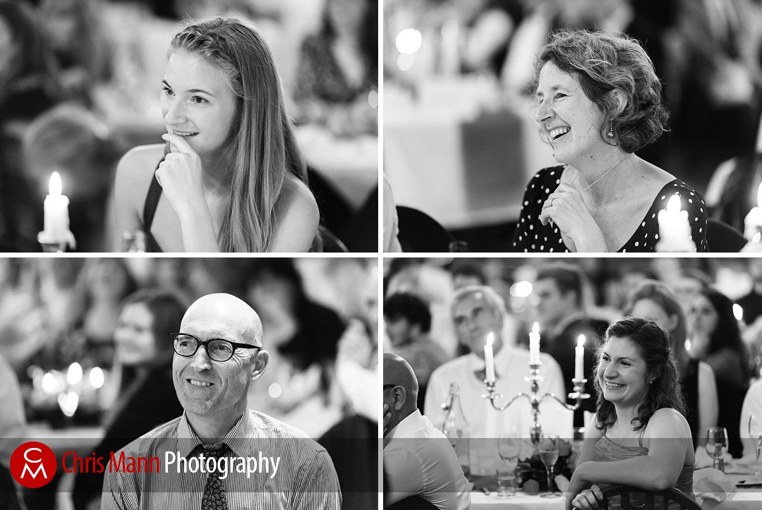 guests smilint at wedding speeches Lady Margaret Hall Oxford