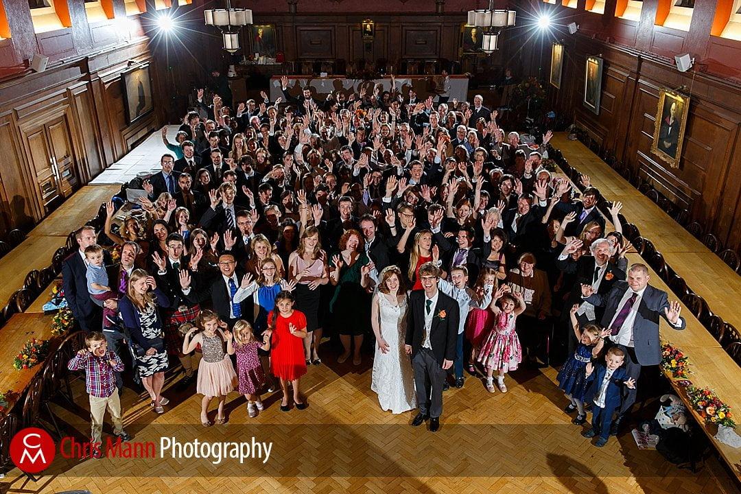big group photo wedding Lady Margaret Hall Oxford