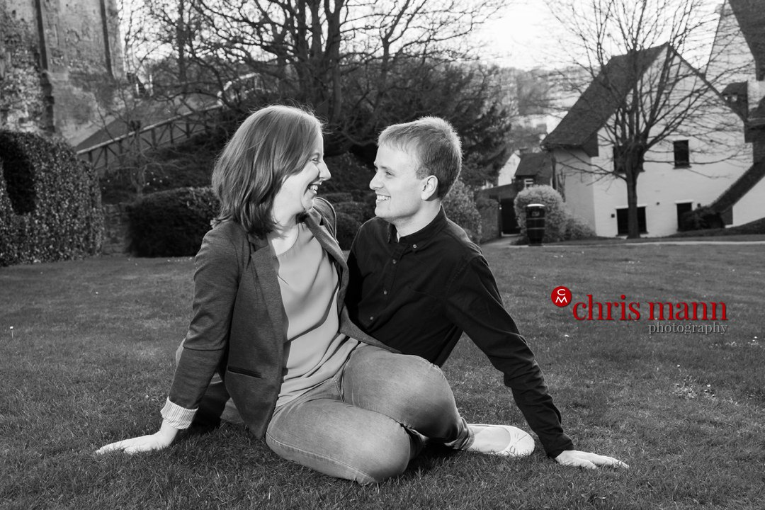 black and white photo engaged couple