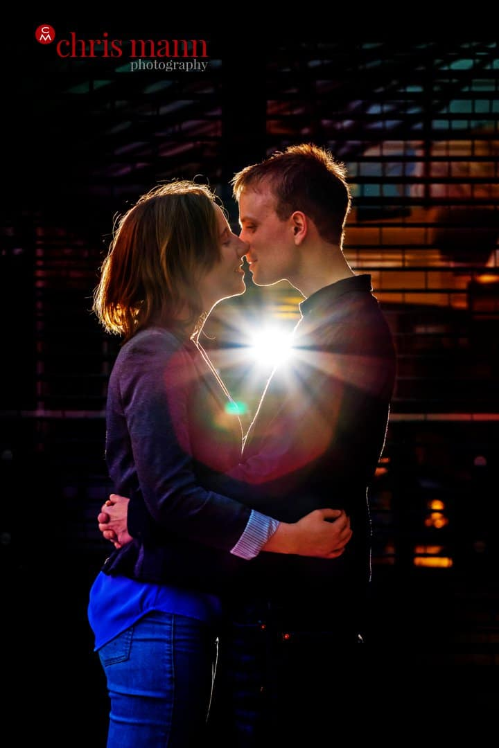 flash backlit couple eb=ngagement portrait