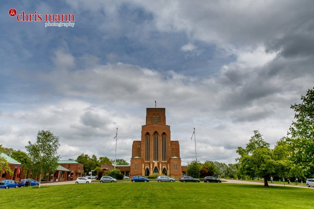 Guidlford cathedral with cloudy sky
