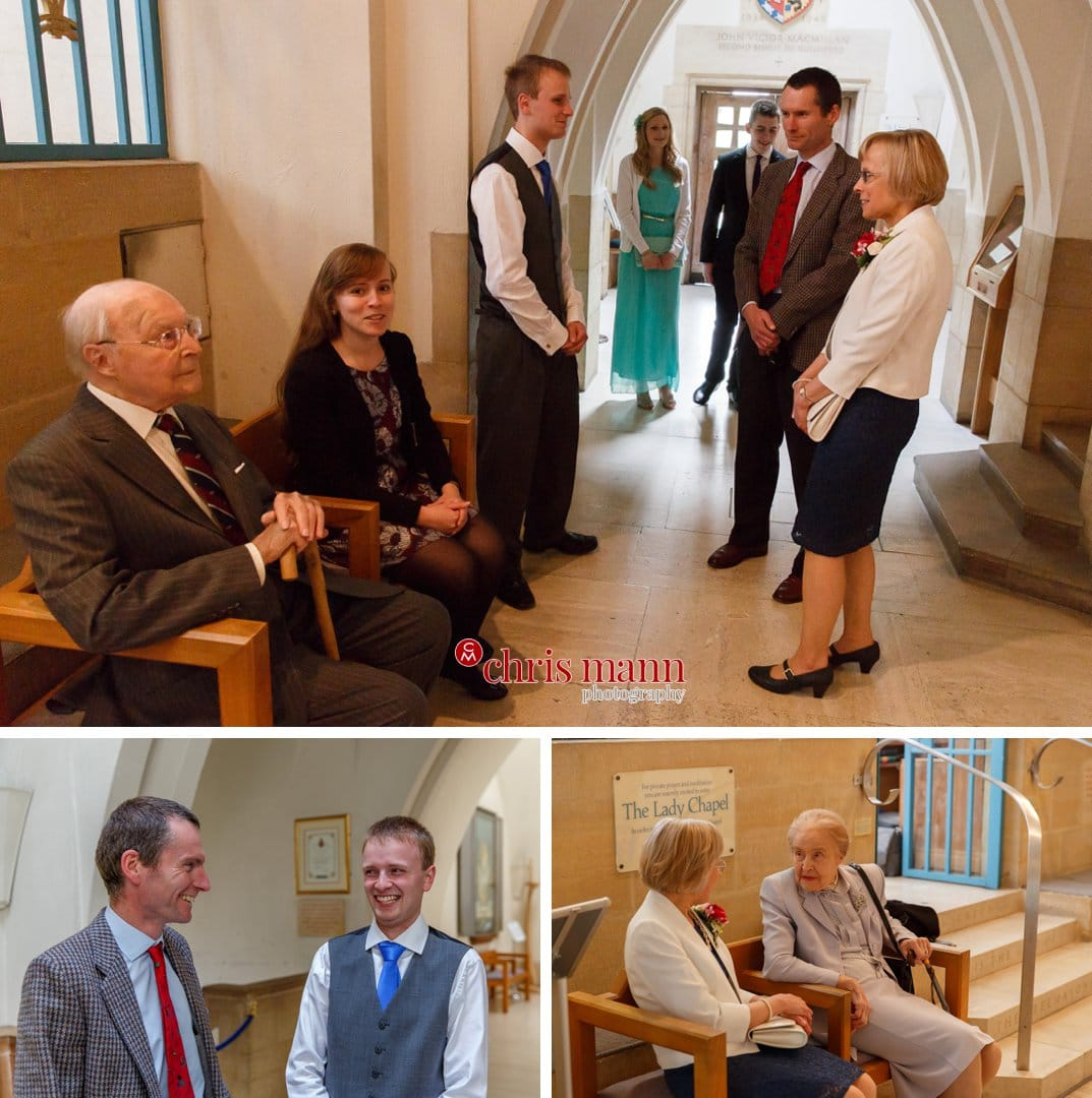 wedding guests assemble at Lady Chapel Guildford Cathedral