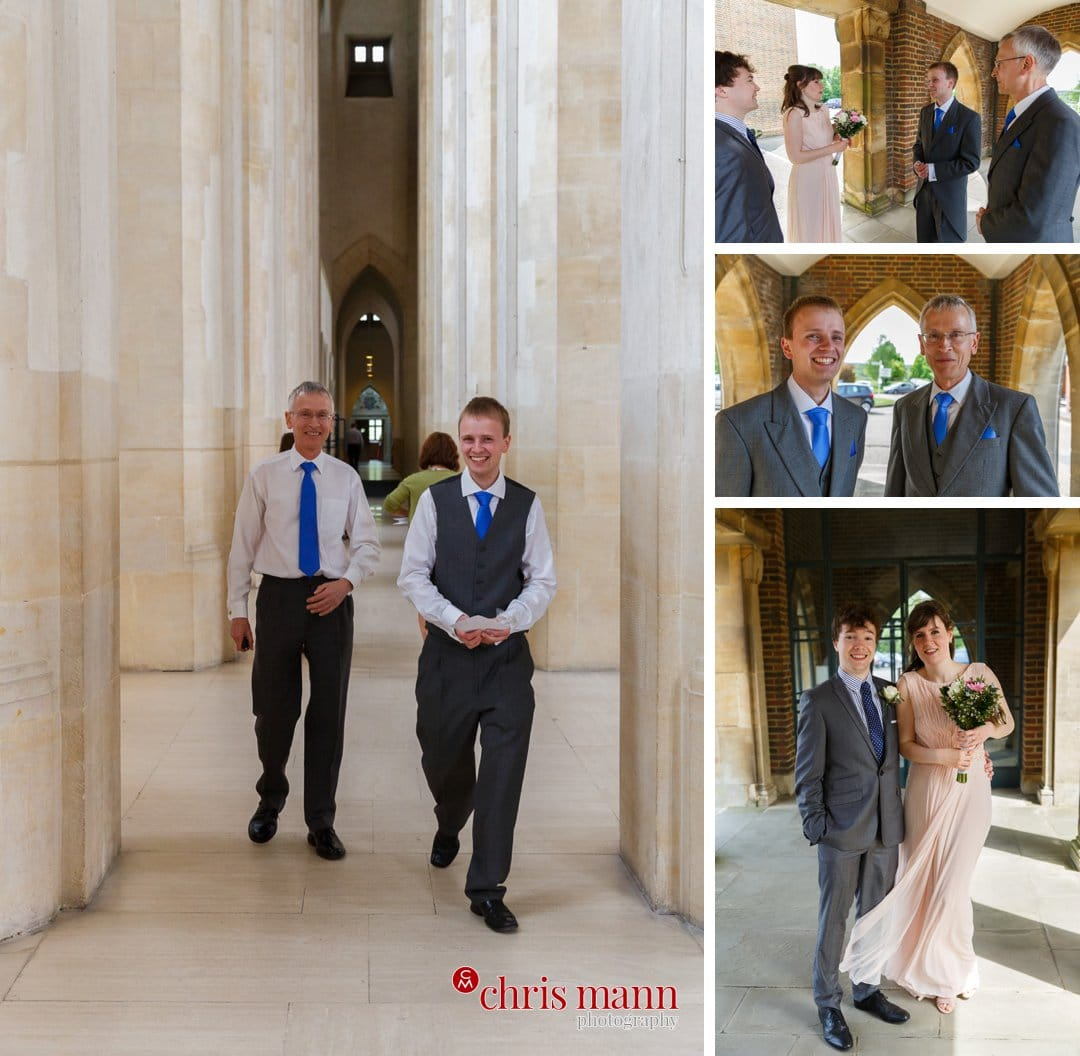 groom and best man bridesmaid guildford cathedral wedding