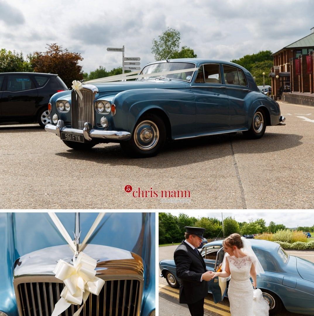 bride arrives Bentley car Guildford Cathedral