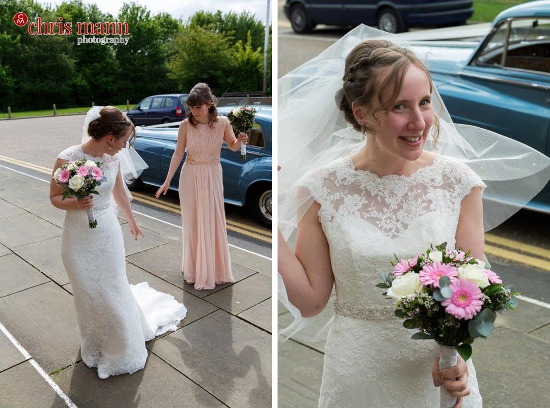 bride arrives at West Door of Guildford Cathedral
